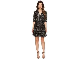 Just Cavalli Metallic Printed Short Ruffle Dress Women's Dress