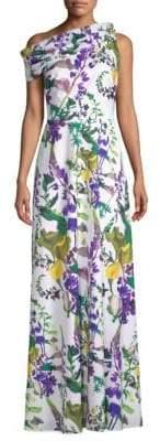 Kay Unger Printed One-Shoulder Dress
