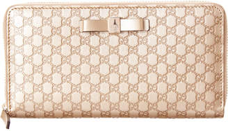 Gucci Bow Signature Leather Zip Around Wallet