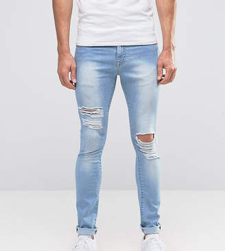 Hunter Brooklyn Supply Co. Brooklyn Supply Co ripped light wash spray on jeans with distressing