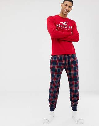Hollister lounge gift set check cuffed joggers & logo long sleeve top in navy/red