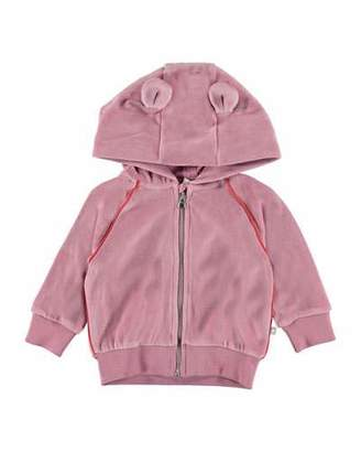 Molo Dorothy Velour Hooded Track Jacket w/ Ears Detail, Size 6-24 Months