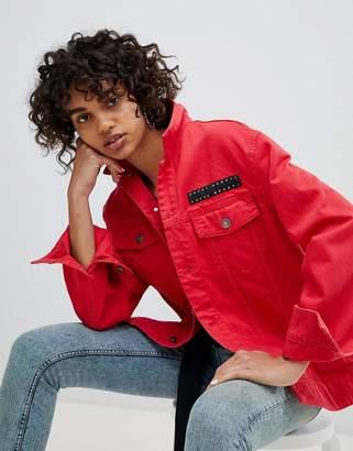 Cheap Monday Oversized Denim Jacket with Logo Label
