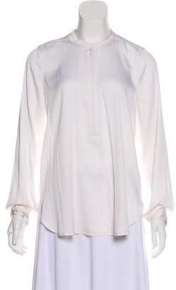 Vince Long Sleeve Zip-Up Blouse