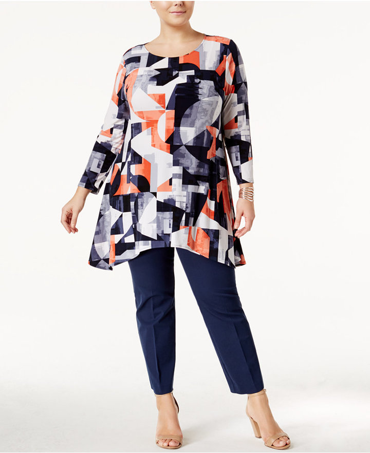 Alfani Alfani Plus Size Printed Swing Tunic, Only at Macy's