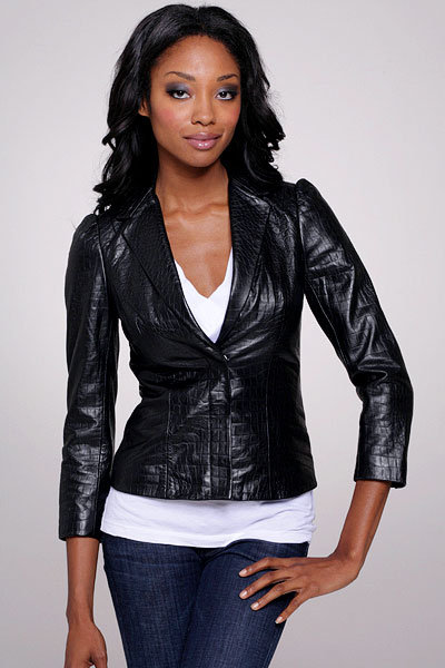 Madison Marcus Croc Leather Blazer