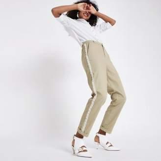 River Island Womens Beige pearl embellished trim chino pants
