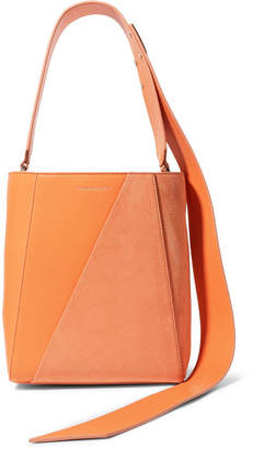 Calvin Klein Buck Stripe Small Leather And Suede Shoulder Bag - Orange