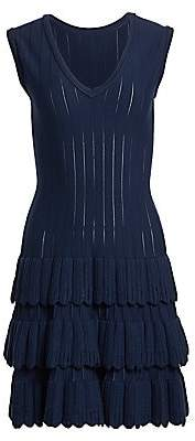 Alaia Women's Sleeveless Scalloped Tiered Wool-Blend Knit Dress