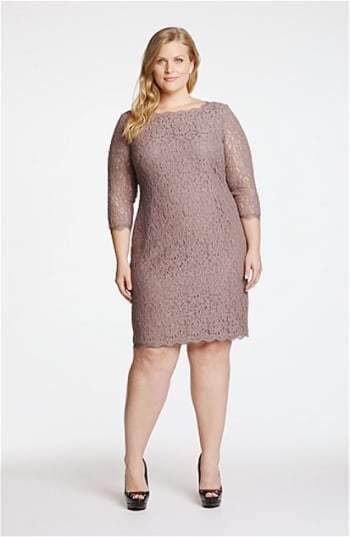 Adrianna Papell Plus Size Women's Lace Overlay Sheath Dress