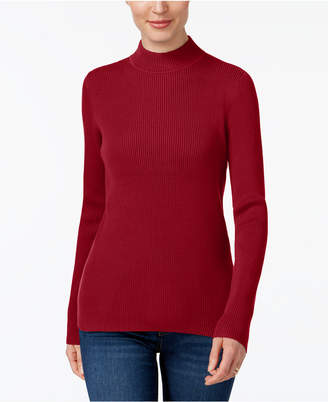Karen Scott Cotton Ribbed Mock-Neck Sweater
