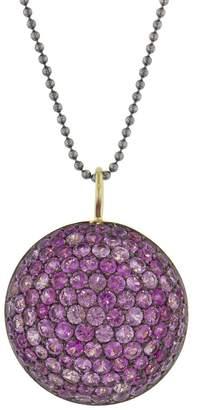 Sharon Khazzam Pink Sapphire Lentil Pendant Necklace
