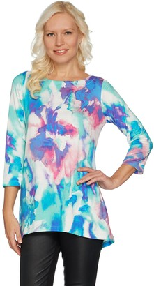 Belle By Kim Gravel Belle by Kim Gravel 3/4 Sleeve Watercolor Printed Top