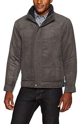 Co Weatherproof Garment Men's Micro Suede Open Bottom Jacket with Faux Fur Collar