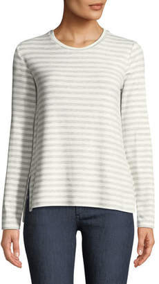 Neiman Marcus Majestic Paris for Long-Sleeve Striped French Terry Crewneck Tee
