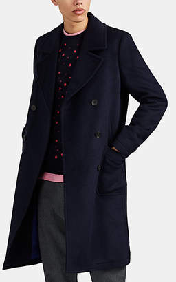 Paul Smith Men's Double-Breasted Brushed Wool-Blend Peacoat - Navy
