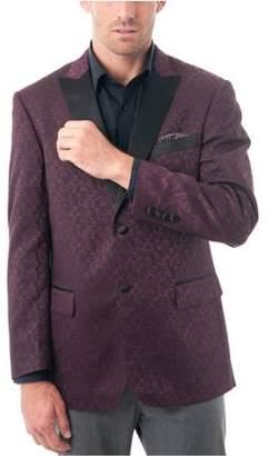 Verno Big Men's Burgundy Textured Tuxedo Jacket with Satin Peak Lapel