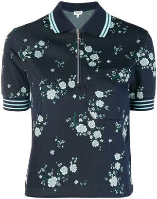 Kenzo floral print zipped T-shirt