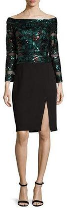 Tadashi Shoji Sequined Mesh & Jersey Cocktail Dress, Deep Leaf/Black $388 thestylecure.com