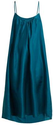 Loup charmant Loup Charmant - V Neck Silk Short Slip - Womens - Dark Green