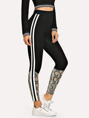 Shein Striped Side Snakeskin Print Leggings