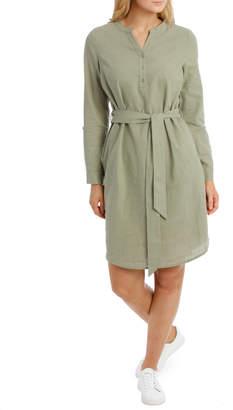 Regatta Linen Blend Shirt Dress-Khaki