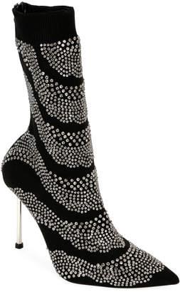 Alexander McQueen Crystal-Embellished Suede Sock Booties