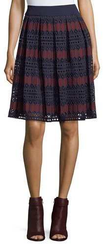 Trina Turk Diamond Lace Full A-Line Skirt