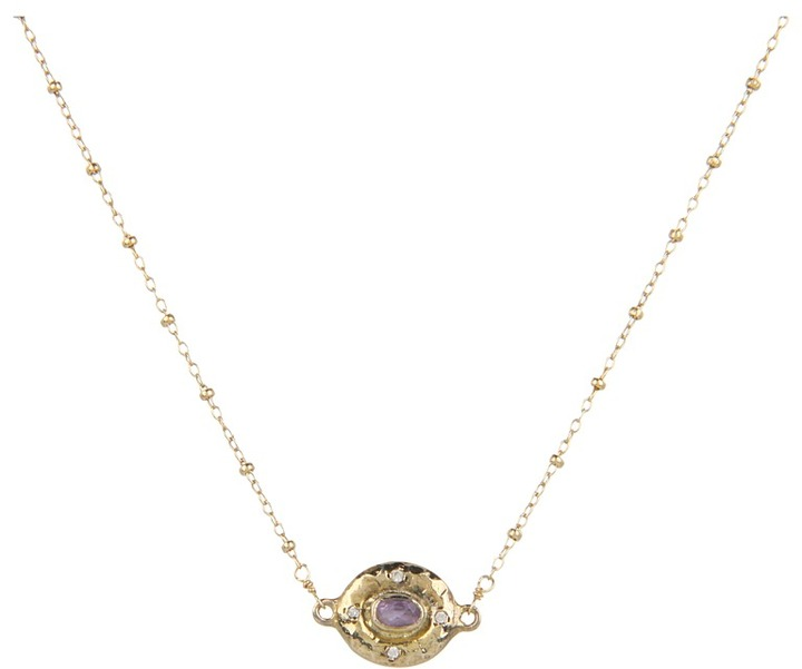Nunu Evil Eye Necklace (Amethyst/Gold) - Jewelry