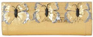 Nancy Gonzalez Butterfly Appliqués Caiman Clutch