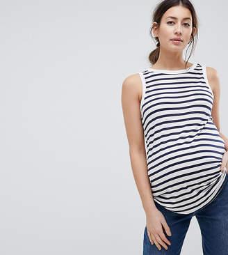 Asos DESIGN Maternity Sleeveless Scoop Back Tank In Stripe