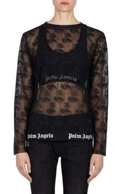 Palm Angels Island Lace Long-Sleeve Shirt