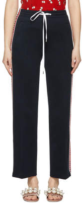 Miu Miu Navy Striped Logo Lounge Pants