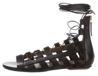 Aquazzura Caged Lace-Up Sandals