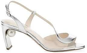 Nicholas Kirkwood Women's Maevai Leather Pearly Heel Sandals