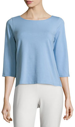 Eileen Fisher 3/4-Sleeve Ballet-Neck Organic Cotton Top $88 thestylecure.com