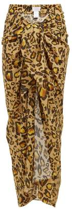 Marios Schwab On The Island By Leopard Print Knotted Cotton Voile Sarong Skirt - Womens - Leopard