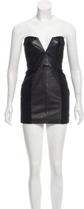 Mason Strapless Leather-Accented Dress