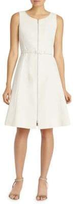 Lafayette 148 New York Coralie Zip-Front Belted Dress
