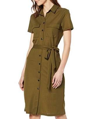 Vila Women's Visafina S/S Shirt Dress Tb/Ki Green Dark Olive, 8 (Herstellergröße: 34)