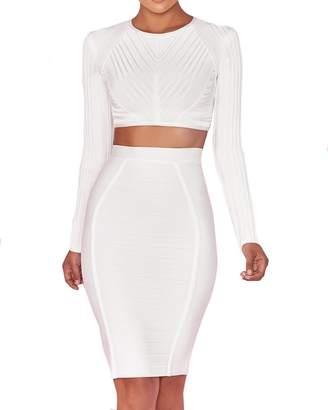 UONBOX Woen's Long Sleeves 2 Pieces Set Crop Topidi Skirt Party Bandage Dress White