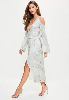Missguided Gray Silky Floral Cold Shoulder Kimono Midi Dress