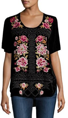 JWLA For Johnny Was Hila Rose-Embroidered Velvet Tee, Black, Plus Size $255 thestylecure.com