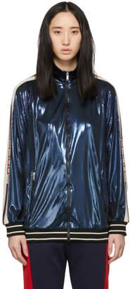Gucci Blue Lame Logo Track Jacket