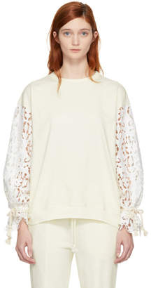 See by Chloe White Broderie Anglaise Sweatshirt