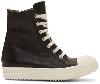Rick Owens Black and Off-White High-Top Sneakers