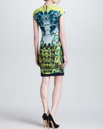 Roberto Cavalli Baroque-Print Cap-Sleeve Dress