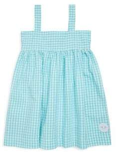 Smiling Button Toddler's, Little Girl's& Girl's Aqua Seersucker Gingham Swing Cotton Dress