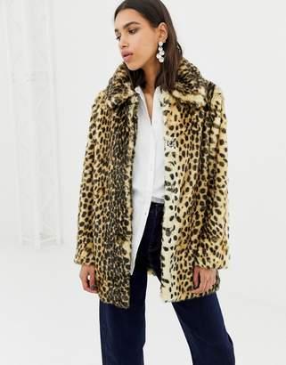 Warehouse faux fur coat in leopard print