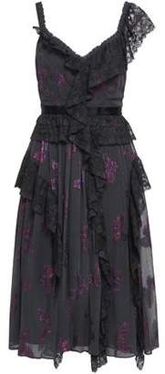 Needle & Thread Ruffled Lace-trimmed Metallic Fil Coupe Dress